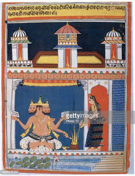 Brahma Hindu 'Absolute' receiving an offering Brahma first in the Hindu divine triad the others being Vishnu and Shiva After 18th century Indian...