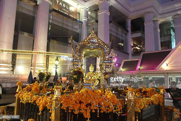 Brahma statue at the Erawan Shrine Ratchaprasong during the welcome ceremony of Festival Christmas and New year 2016.