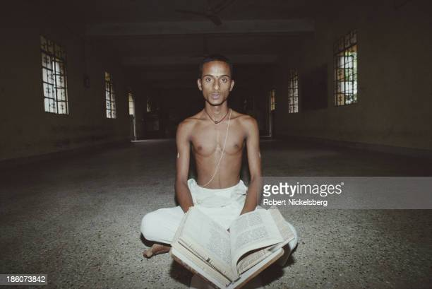 A Brahmin student reads vedas in Andhra Pradesh India 1991