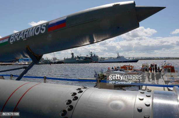A Brahmos supersonic cruise missile is on display at the International Maritime Defence Show in Saint Petersburg on June 28 2017 / AFP PHOTO / Olga...