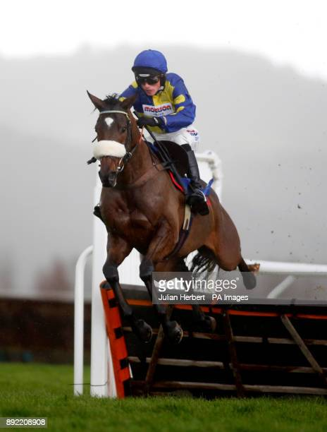 Brahms DE Clermont and Harry Cobden pull away from the final flight before going on to win The Kings College Taunton Novices' Hurdle Race run at...