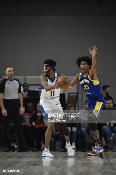 Braian Angola-Rodas of the Lakeland Magic looks to make a play against the Santa Cruz Warriors during the NBA G League Winter Showcase on December...