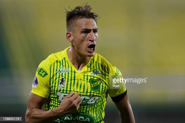 Braian Romero of Defensa y Justicia celebrates after scoring the first goal of his team during a round of sixteen first leg match between Defensa y...
