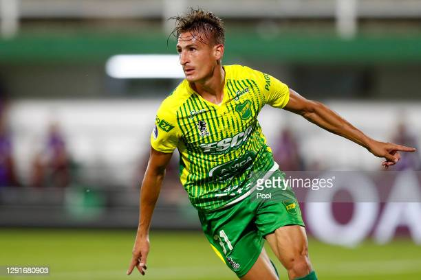 Braian Romero of Defensa y Justicia celebrates after scoring the first goal of his team during a quarter final second leg match between Defensa y...