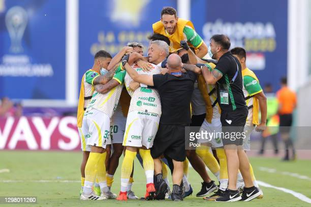 Braian Romero of Defensa y Justicia celebrates with teammates after scoring the second goal of his team during the final of Copa CONMEBOL...