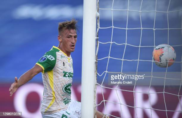 Braian Romero of Defensa y Justicia scores the second goal of his team during the final of Copa CONMEBOL Sudamericana 2020 between Lanús and Defensa...