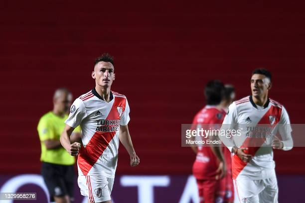 Braian Romero of River Plate celebrates after scoring the first goal of his team during a round of sixteen second leg match between Argentinos...