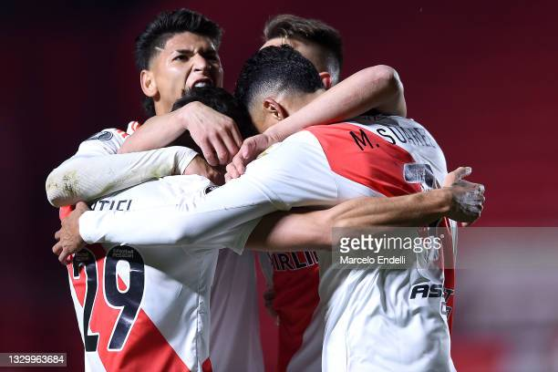 Braian Romero of River Plate celebrates with teammates Matías Suárez, Gonzalo Montiel and Jorge Carrascal after scoring the second goal of his team...
