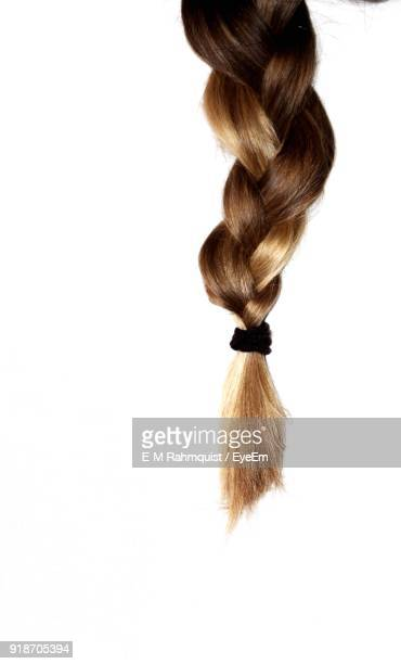 Braided Hair Over White Background