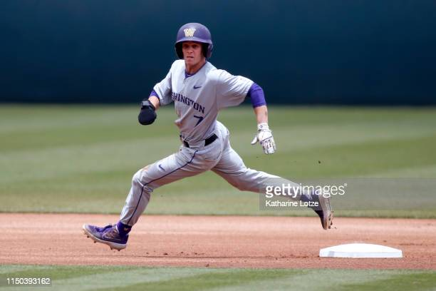 Braiden Ward of University of Washington sounds second base during a baseball game against UCLA at Jackie Robinson Stadium on May 19 2019 in Los...