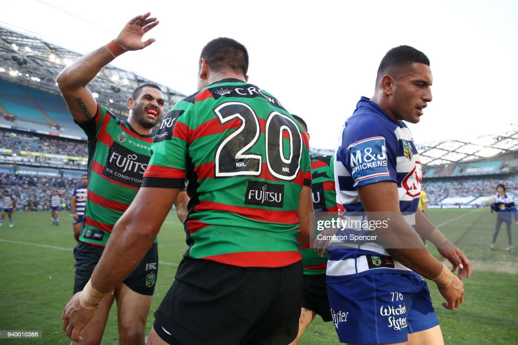 Braidon Burns of the Rabbitohs is congratulated by team mate Greg Inglis of the Rabbitohs after scoring a try during the round four AFL match between the South Sydney Rabbitohs and the Canterbury Bulldogs at ANZ Stadium on March 30, 2018 in Sydney, Australia.