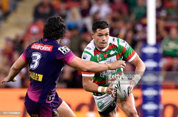 Braidon Burns of the Rabbitohs looks to take on the defence during the round 23 NRL match between the Brisbane Broncos and the South Sydney Rabbitohs...