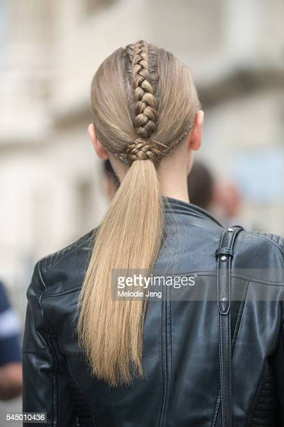 Braid/ponytail hair details after the Ralph Russo show on July 4 2016 in Paris France