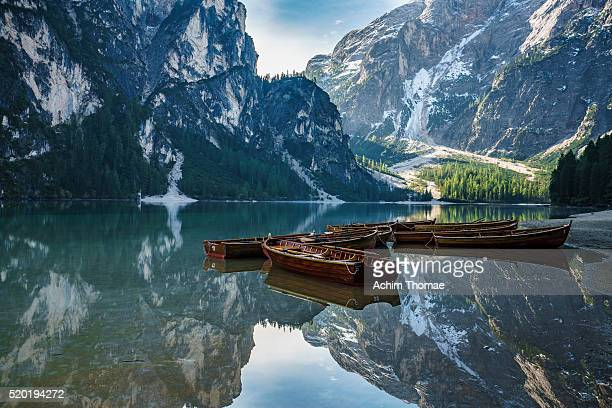 braies lake - dolomite alps, italy - toblach stock photos and pictures