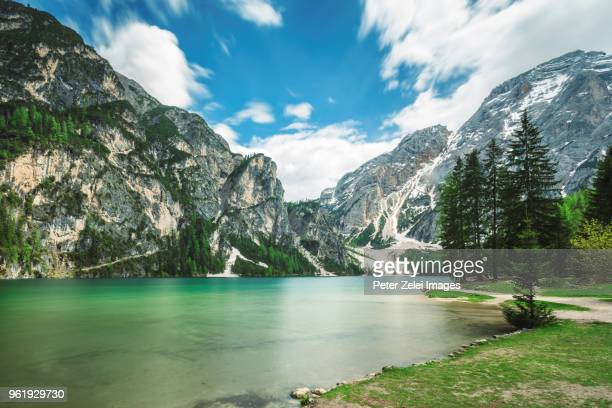 braies lake, dolomites, south tyrol, italy - alto adige italy stock pictures, royalty-free photos & images