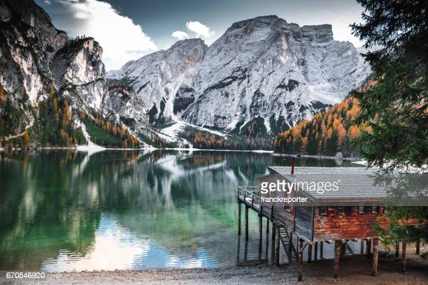 braies lake landscape - toblach stock photos and pictures