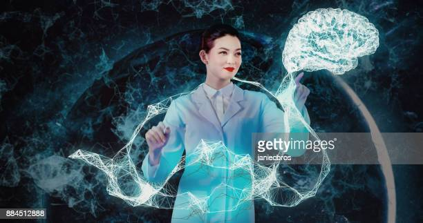brain and neurology research in virtual reality - futurism stock photos and pictures