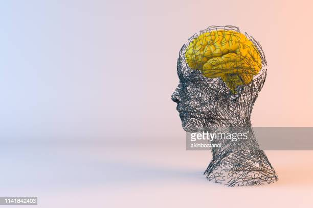 brain, artificial intelligence concept, wired shape cyborg - deep learning stock photos and pictures