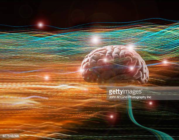 Brain floating in light trails