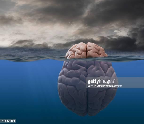 Brain floating in stormy sea