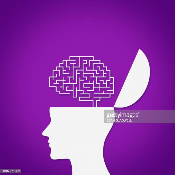 brain head illustration - symbol stock pictures, royalty-free photos & images