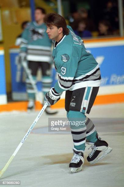 Brain Lawton of the San Jose Sharks skates in warmup prior to a game against the Toronto Maple Leafs on October 24 1992 at Maple Leaf Gardens in...