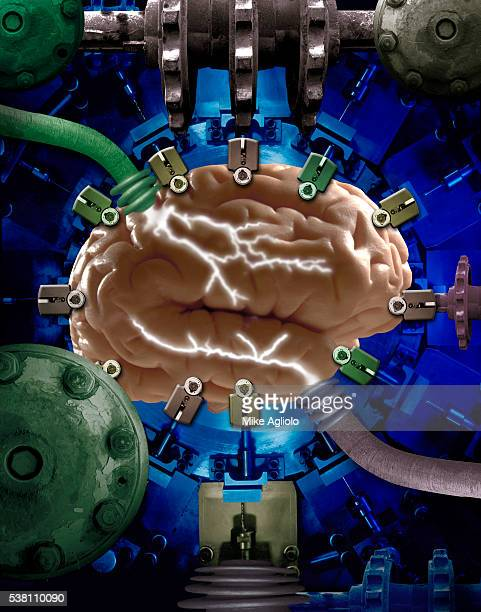 brain machine in vault - mike agliolo stock pictures, royalty-free photos & images