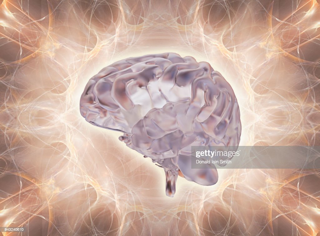 Brain made of glass in energy field : Stock Photo