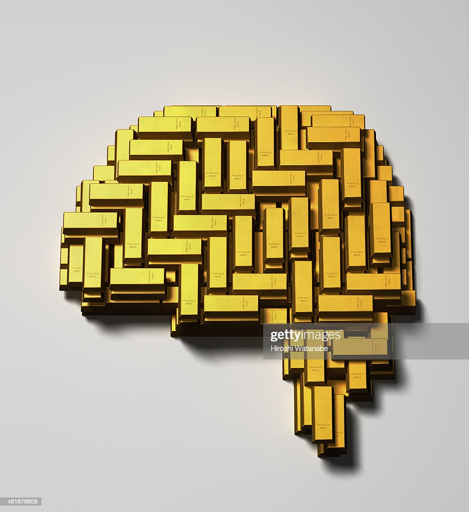 Brain made of  gold bars : Stock Photo