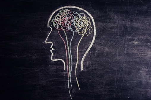 Brain made of multicolored lines drawn on chalkboard 1173478242