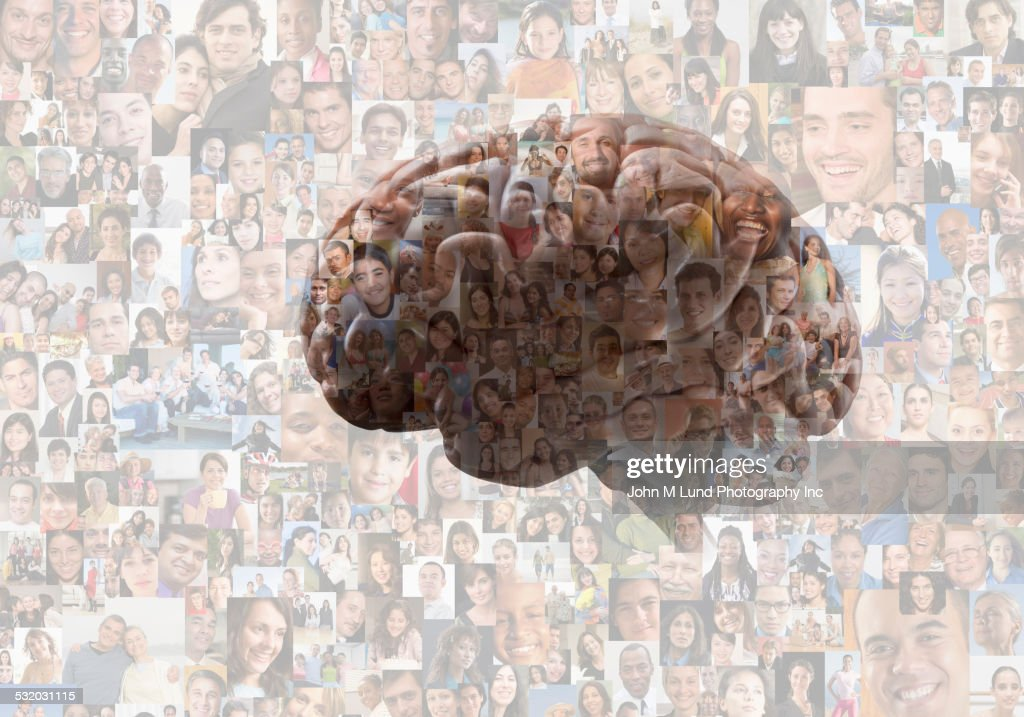 Brain overlaid on collage of faces : Stock Photo