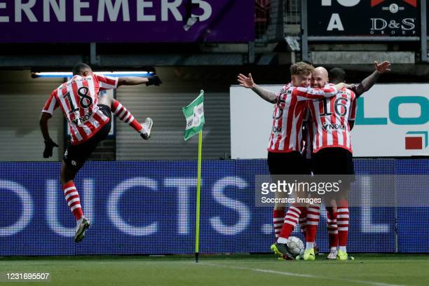 Brain Smeets of Sparta Rotterdam celebrates 2-0 with Deroy Duarte of Sparta Rotterdam, Sven Mijnans of Sparta Rotterdam, Emanuel Emegha of Sparta...