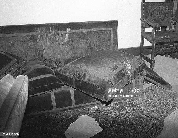 Brain tissue can be seen on the sofa where President Salvador Allende commited suicide in La Moneda Presidential Palace after ordering his bodyguards...