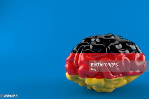 brain with german flag isolated blue