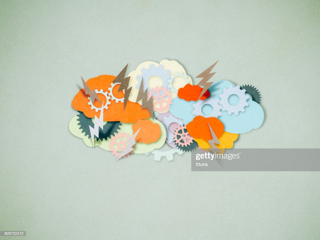 Brainstorming, paper cutting style : Stock Photo