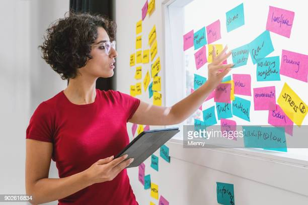 Brainstorming Sticky Notes Woman Checking Concept Papers