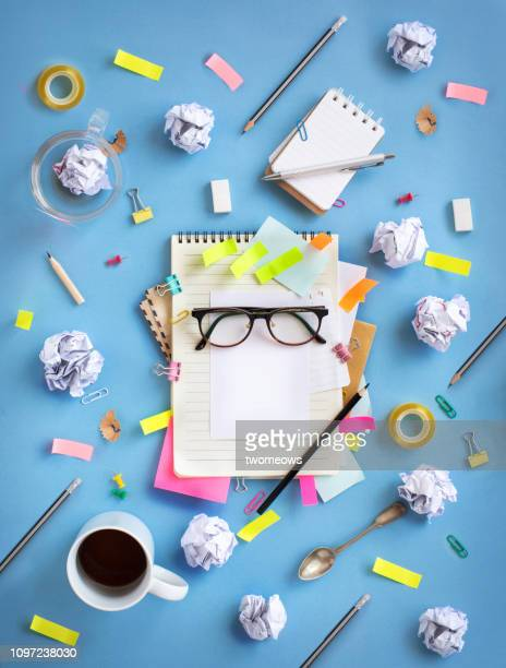brainstorming table top objects concept still life. - time management stock photos and pictures