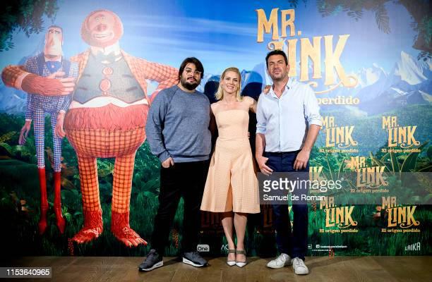 "Brais Efe, Maggie Civantos and Arturo Valls attend ""Mr. Link. El Origen Perdido"" photocall at Urso Hotel on June 04, 2019 in Madrid, Spain."