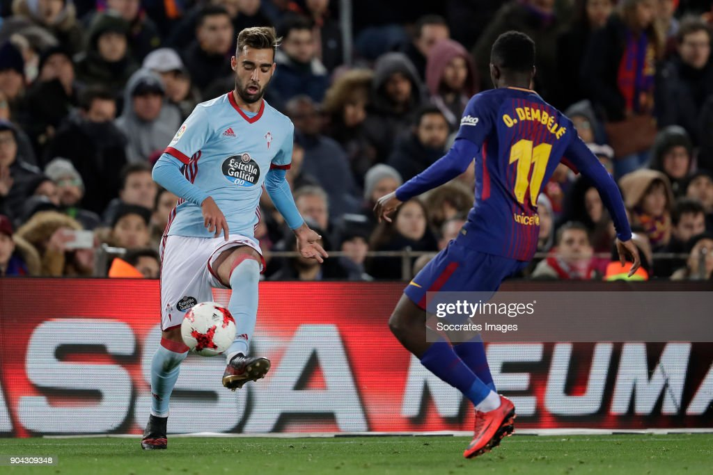 Brais Mendez of Celta de Vigo, Ousmane Dembele of FC Barcelona during the Spanish Copa del Rey match between FC Barcelona v Celta de Vigo at the Camp Nou on January 11, 2018 in Barcelona Spain