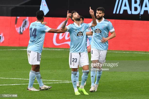 Brais Mendez of Celta Vigo celebrates after scoring their sides first goal during the La Liga Santander match between RC Celta and Deportivo Alavés...