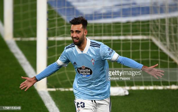 Brais Mendez of Celta Vigo celebrates after scoring their side's first goal during the La Liga Santander match between RC Celta and SD Eibar at...