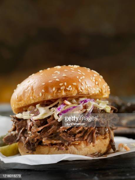 braised beef short rib sandwich with coleslaw on a brioche bun - carne de churrasco imagens e fotografias de stock