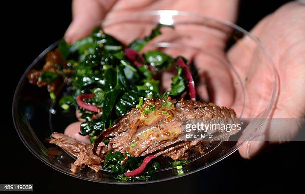 A braised brisket dish is displayed at Tom Colicchio's Heritage Steak booth at Vegas Uncork'd by Bon Appetit's Grand Tasting event at Caesars Palace...