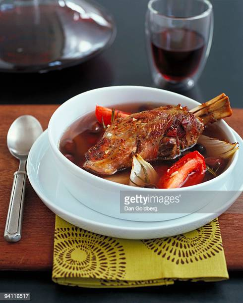 Braised lamb shank and vegetable in broth