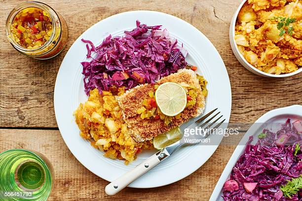 braised red cabbage fennel and apple, sweet potato parsnip mash with tempeh fillets - テンペ ストックフォトと画像