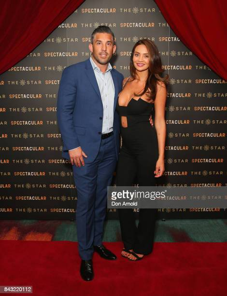 Braith Anasta and Rachael Lee arrive ahead of the The Star Spectacular Soiree at The Star on September 6 2017 in Sydney Australia