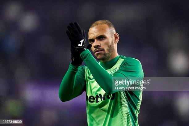 Braithwaite of CD Leganes salutes the fans during the Liga match between Real Valladolid CF and CD Leganes at Jose Zorrilla on January 03 2020 in...
