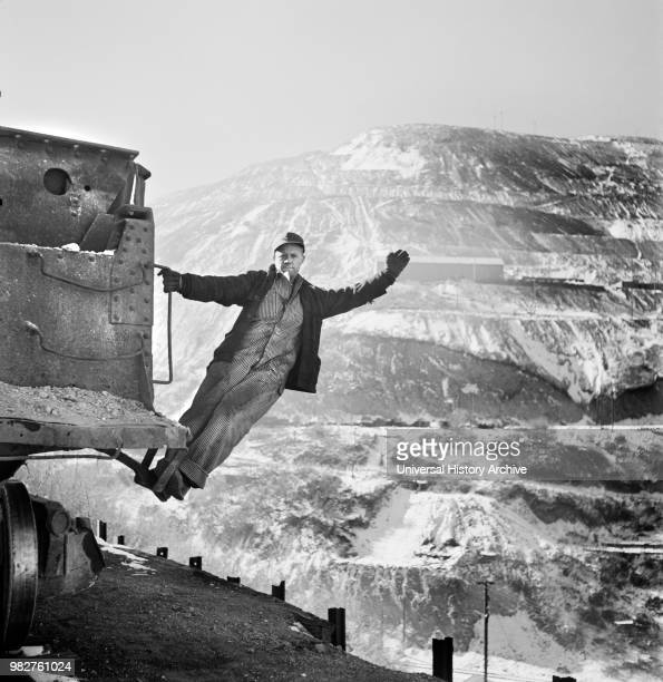 Brakeman of an Ore Train at OpenPit Mining Operations Utah Copper Company Bingham Canyon Utah USA Andreas Feininger for Office of War Information...