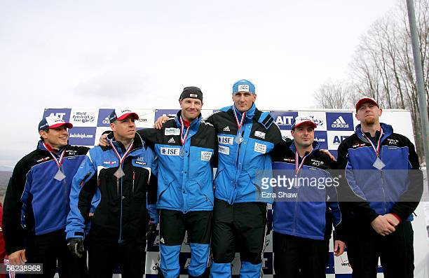 Brakeman Pavle Jovanovic and driver Todd Hays of the USA who finished in third place driver Andre Lange and brakeman Kevin Kuske of Germany who won...