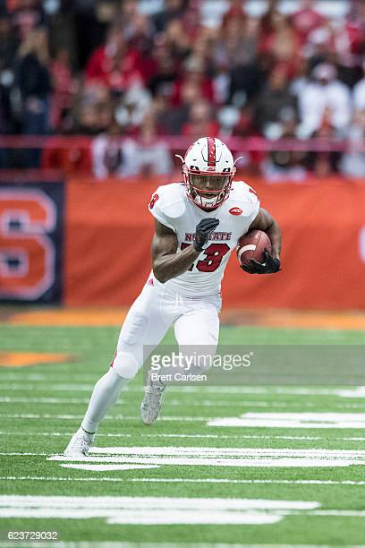 Bra'Lon Cherry of the North Carolina State Wolfpack carries the ball during the game against the Syracuse Orange on November 12 2016 at The Carrier...